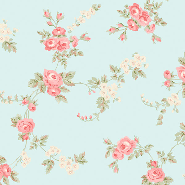 pink and biege floral on aqua background wallpaper wallcovering