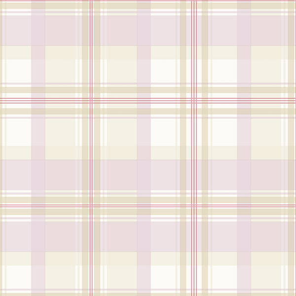 purple beige and green plaid wallcovering