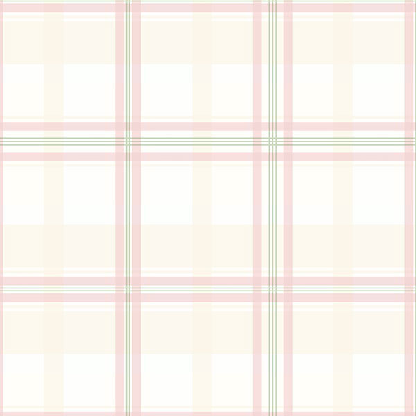 beige pink and green plaid wallcovering