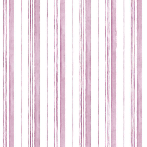 raspberry and white stripe wallcovering