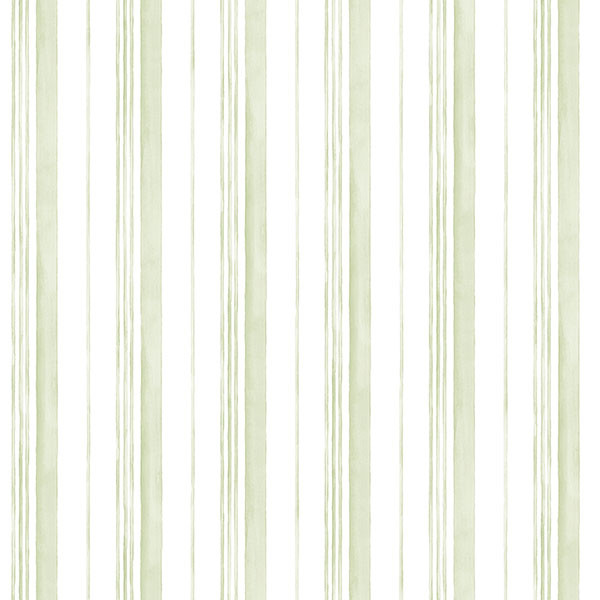 green and white stripe wallcovering