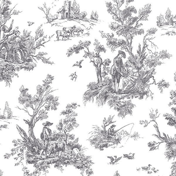 black and white toile wallcovering