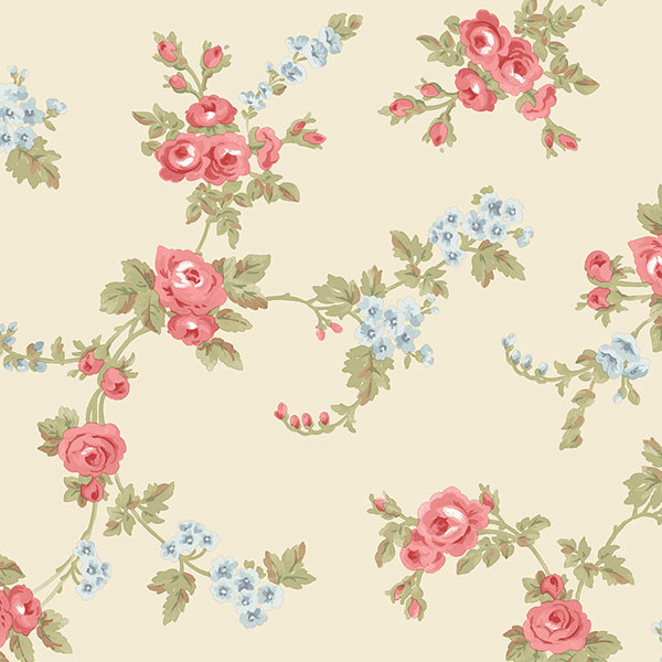 red blue and green florals on beige wallcovering