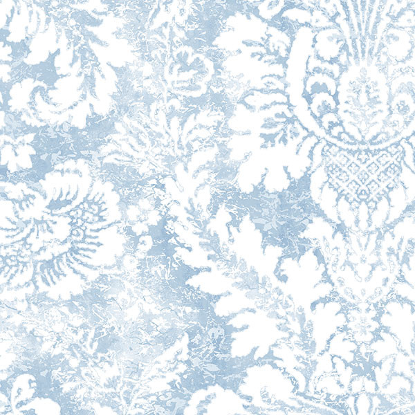 blue and white damask wallcovering