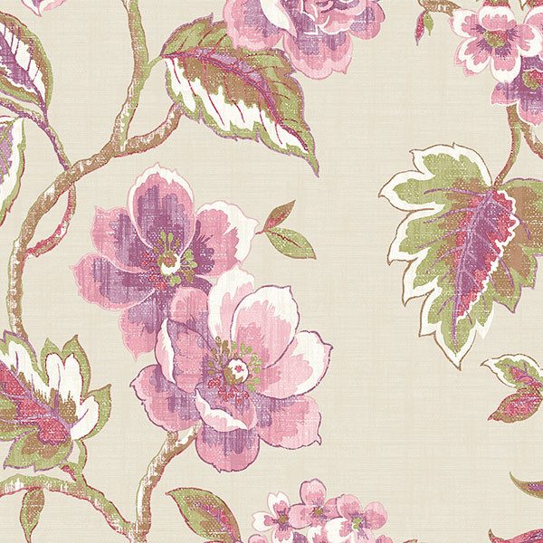 pink purple green floral trail on taupe wallcovering