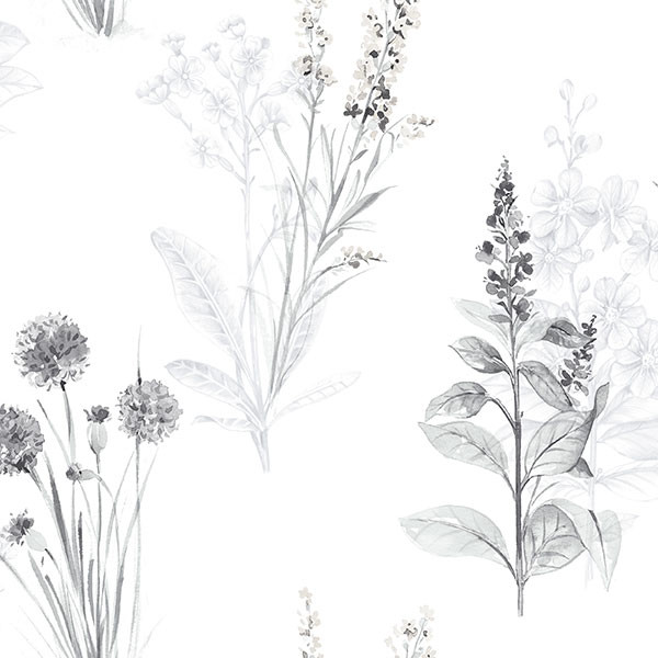grey and black florals on white wallcovering