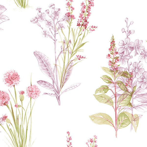 pink purple and green floral on white wallcovering