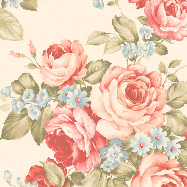 traditional coloured floral on beige wallpaper wallcovering