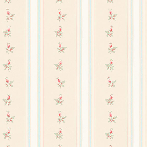 beige and aqua with pink floral stripe wallpaper wallcovering
