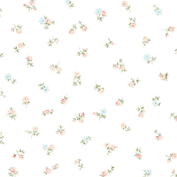 turquoise and red mini flowers on white wallpaper wallcovering