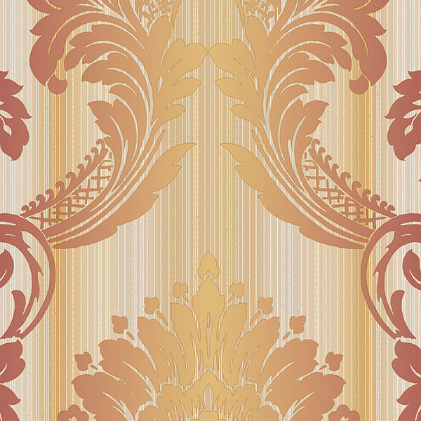 Red, ochre and gold light reflective damask wallcovering
