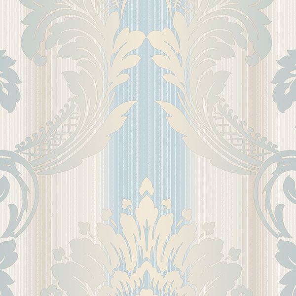 Blue and taupe light reflective damask wallcovering