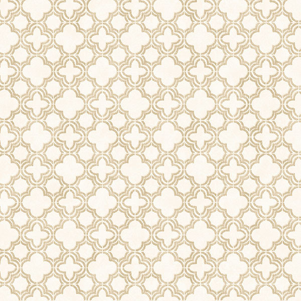 Beige and cream light reflective quatrefoil wallcovering