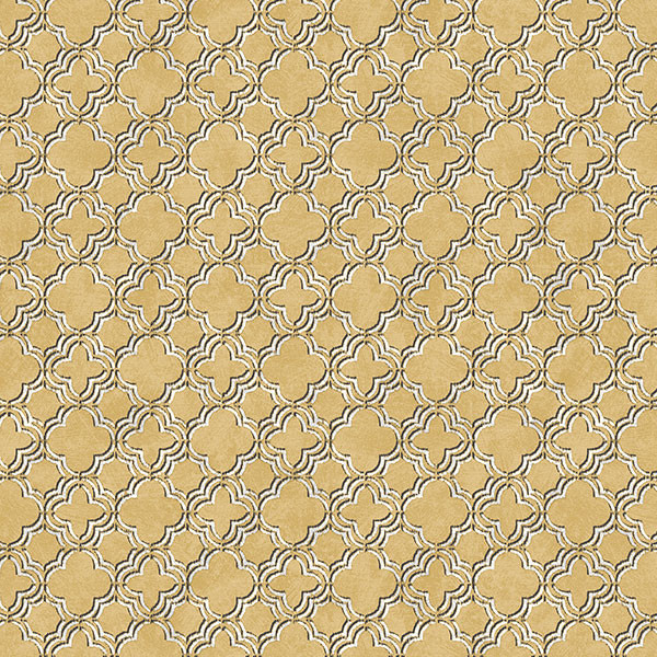 Gold, black and white light reflective quatrefoil wallcovering