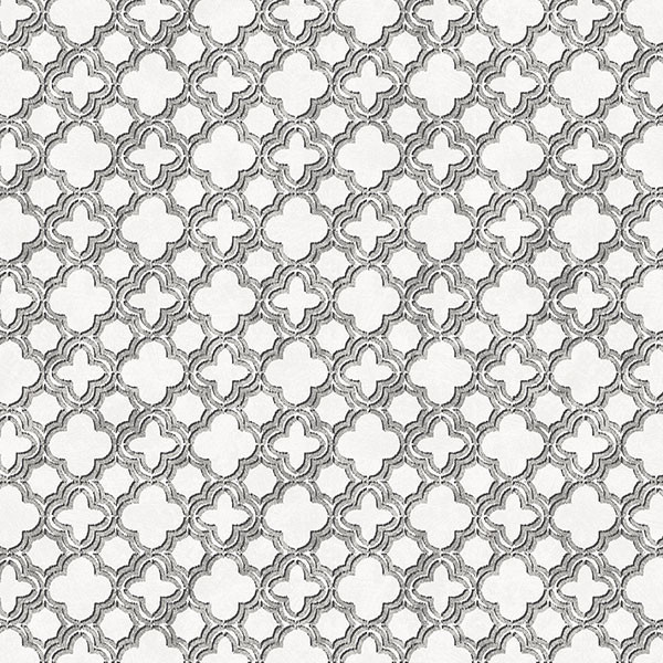 Black, grey and silver light reflective quatrefoil wallcovering