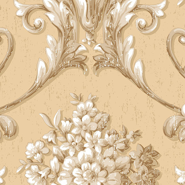 Beige and gold light reflective damask wallcovering