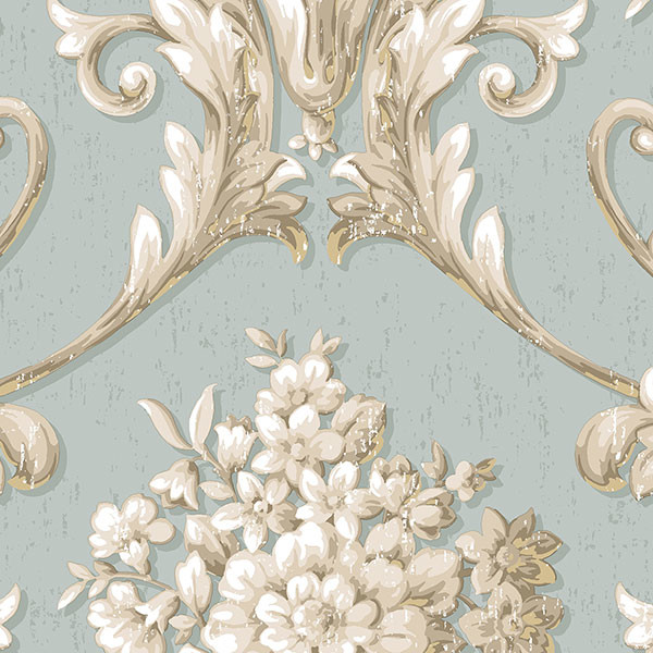 Blue, beige and gold light reflective damask wallcovering