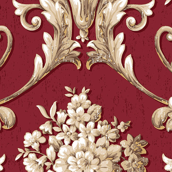 red, beige and gold light reflective damask wallcovering