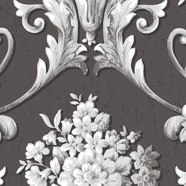 Black and grey light reflective damask wallcovering
