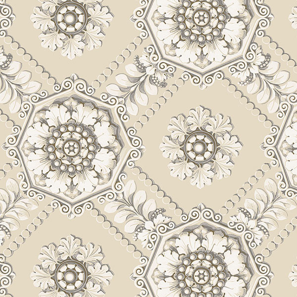 Beige, grey and gold light reflective medallion wallcovering