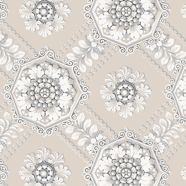 Grey, pearl and silver light reflective medallion wallcovering
