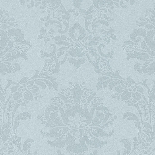 Blue pearl light reflective damask wallcovering
