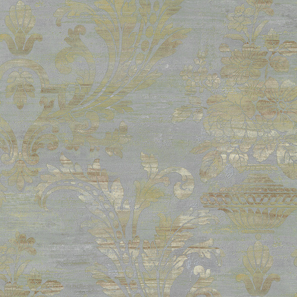 blue, brown and pearl light reflective damask wallcovering