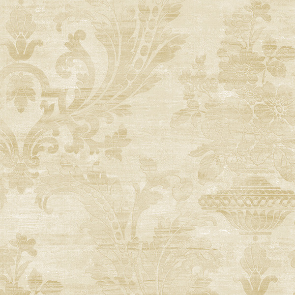 Beige and pearl light reflective damask wallcovering