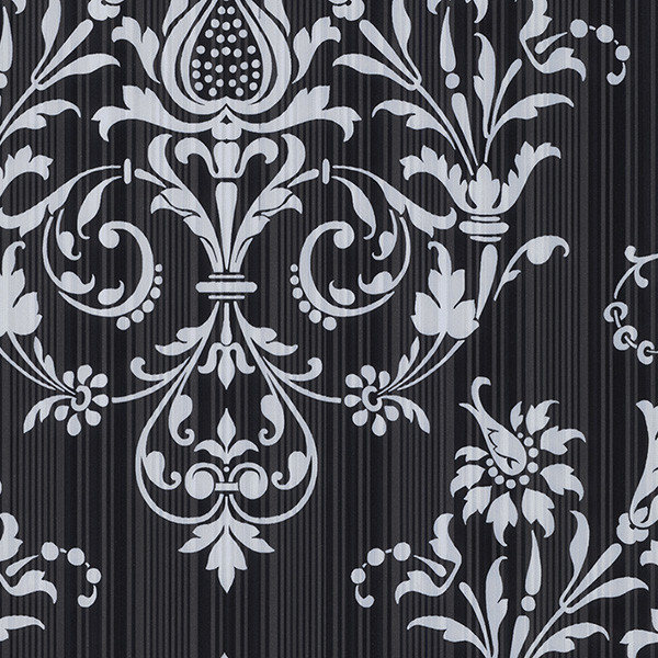 damask in black and silver light reflective wallcovering