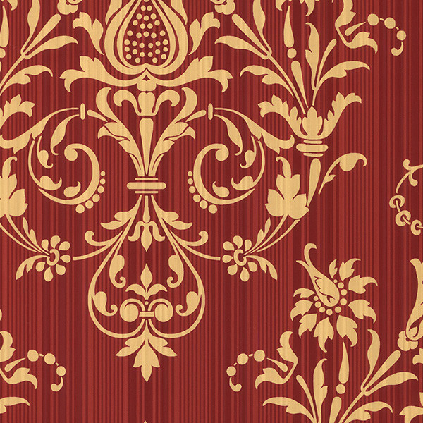 damask in red and gold light reflective wallcovering