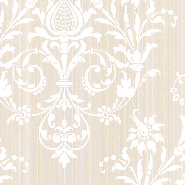 damask in beige and pearl light reflective wallcovering