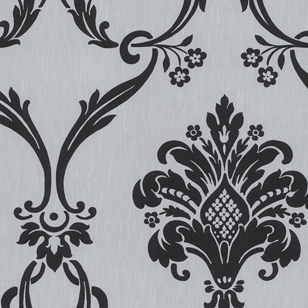 silver and black silks damask wallcovering