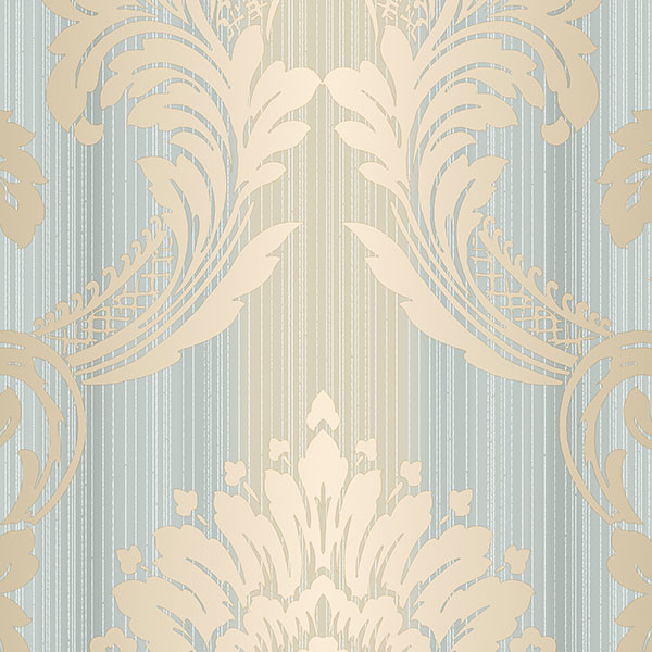 Blue, beige and gold light reflective string damask wallcovering