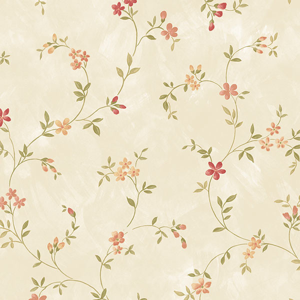 small floral trail in red, ochre and beige wallcovering