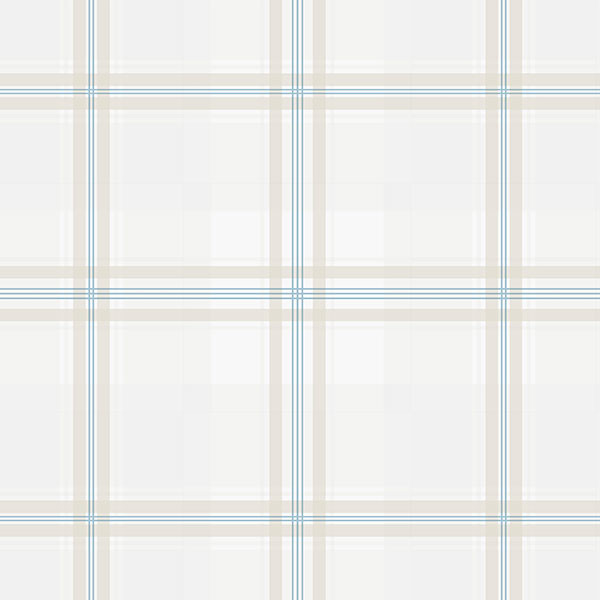 plaid in taupe and blue wallcovering