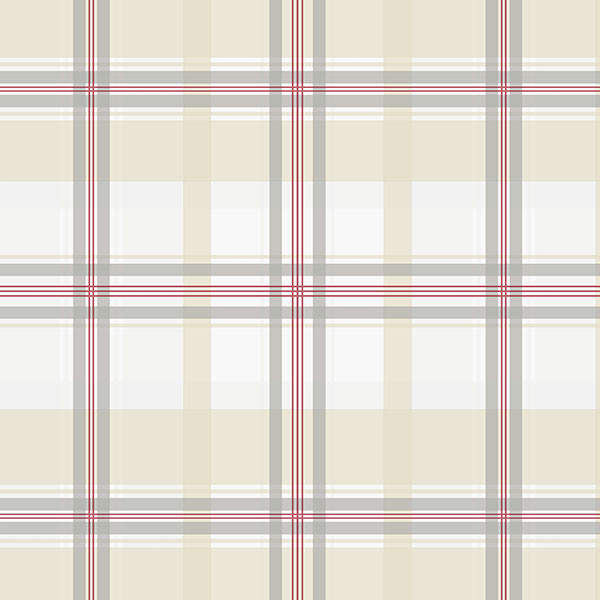 plaid in beige, red and grey wallcovering