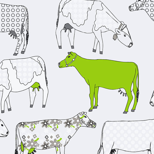 cows in green and black on white background wallcovering