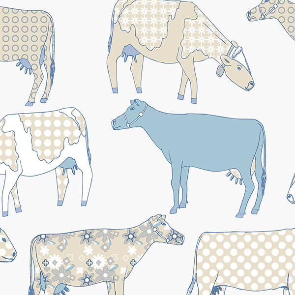 cows in cream and blue wallcovering