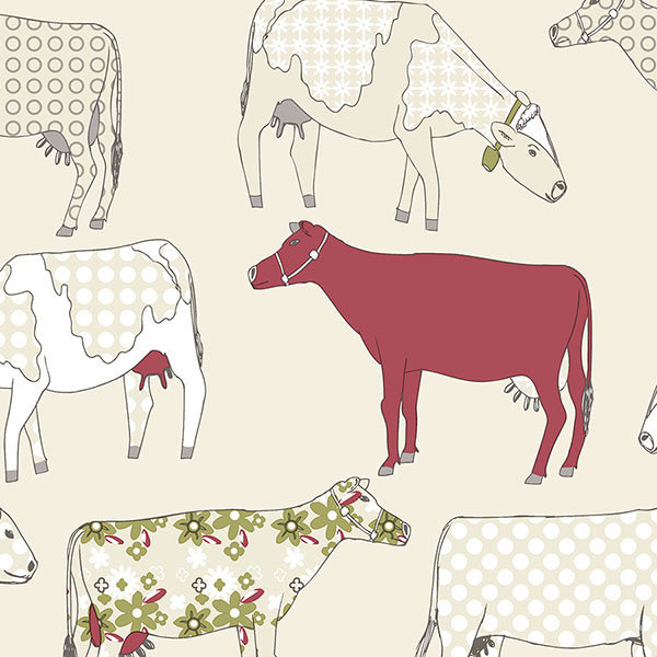 cows in red and beige wallcovering