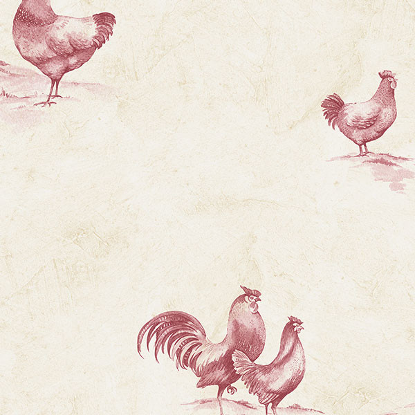 roosters and hens in red and beige wallcovering