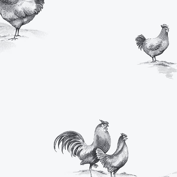 roosters and hens in black on white background wallcovering