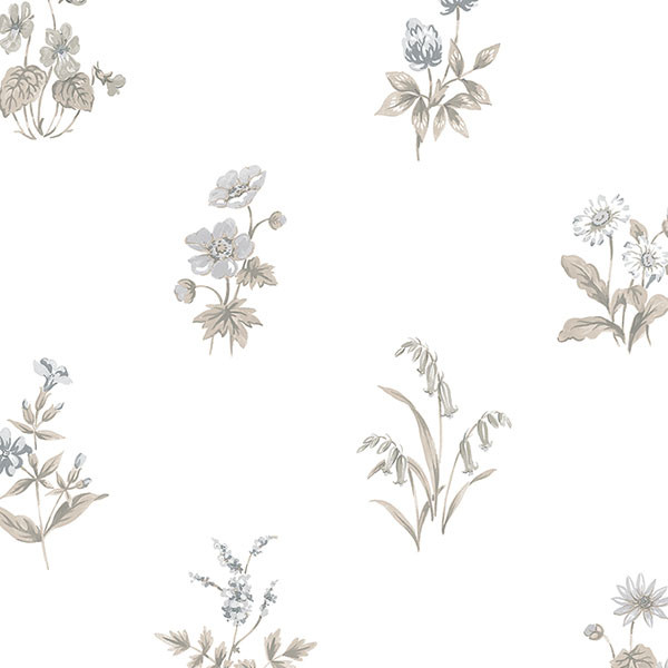 black and tan floral allover wallcovering