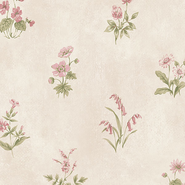 beige and pink floral allover wallcovering