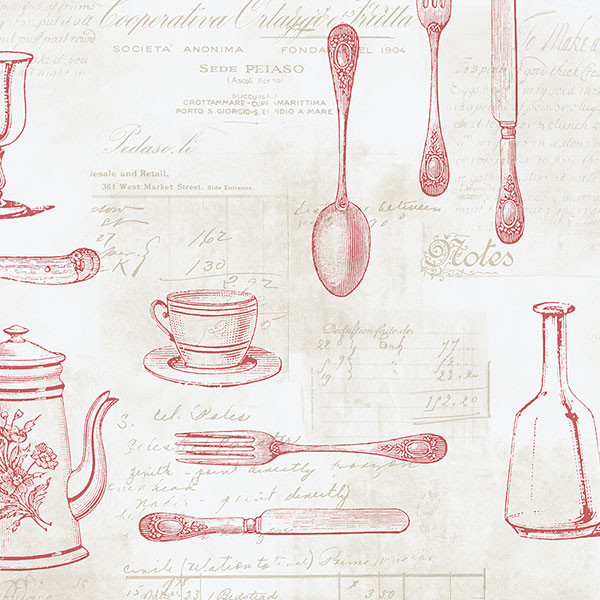 cutlery in red and beige wallcovering