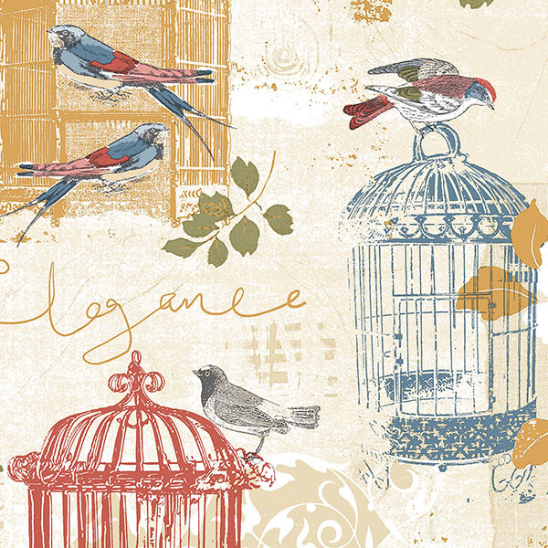multi coloured birdcage wallcovering