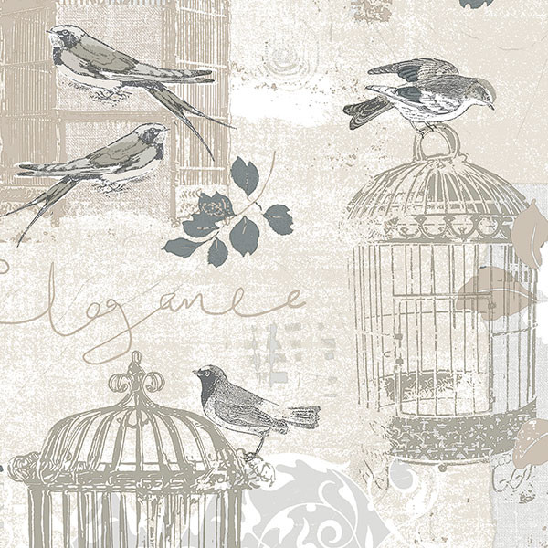 black and tan birdcage wallcovering