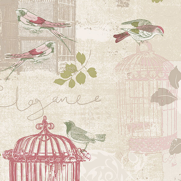 beige and pink birdcage wallcovering