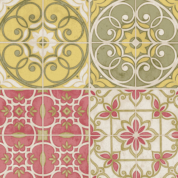 green, yellow and red portugese tiles wallcovering
