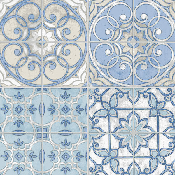blue and cream Portugese tiles wallcovering