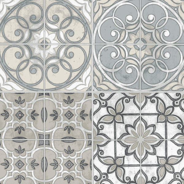grey, black and beige Portugese tiles wallcovering